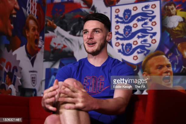 Declan Rice of England is interviewed at St George's Park on June 30, 2021 in Burton upon Trent, England.