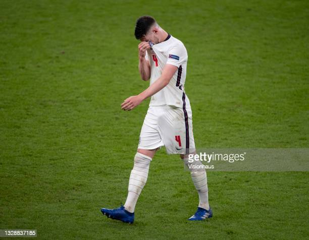 Declan Rice of England is substituted during the UEFA Euro 2020 Championship Final between Italy and England at Wembley Stadium on July 11, 2021 in...