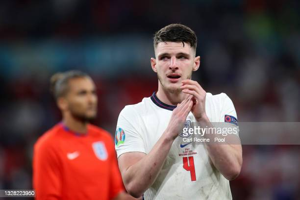 Declan Rice of England looks dejected following the UEFA Euro 2020 Championship Final between Italy and England at Wembley Stadium on July 11, 2021...
