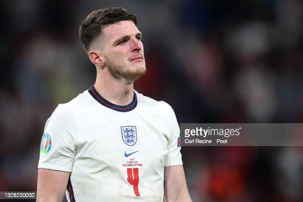 Declan Rice of England looks on dejected following his teams defeat in the UEFA Euro 2020 Championship Final between Italy and England at Wembley...