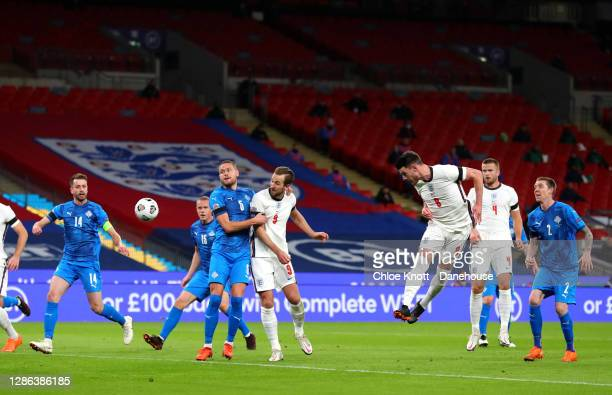 Declan Rice of England scores his teams first goal during the UEFA Nations League group stage match between England and Iceland at Wembley Stadium on...
