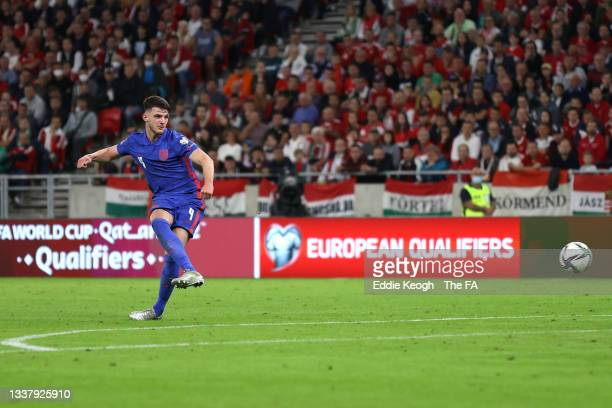Declan Rice of England scores their team's fourth goal during the 2022 FIFA World Cup Qualifier match between Hungary and England at Stadium Puskas...