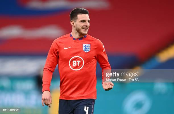 Declan Rice of England warms up prior to the FIFA World Cup 2022 Qatar qualifying match between England and Poland on March 31, 2021 at Wembley...