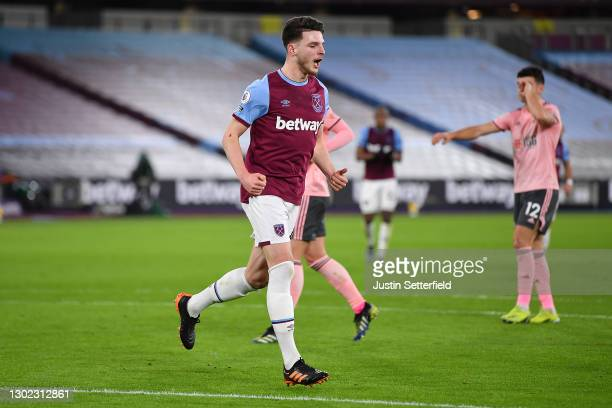 Declan Rice of West Ham celebrates after scoring their team's first goal during the Premier League match between West Ham United and Sheffield United...