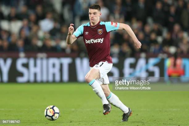 Declan Rice of West Ham during the Premier League match between West Ham United and Stoke City at London Stadium on April 16 2018 in London England