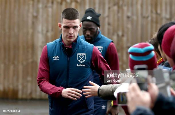 Declan Rice of West Ham United arrives at the stadium prior to the Premier League match between Burnley FC and West Ham United at Turf Moor on...
