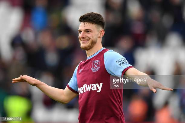 Declan Rice of West Ham United celebrates during the Premier League match between West Ham United and Southampton at London Stadium on May 23, 2021...