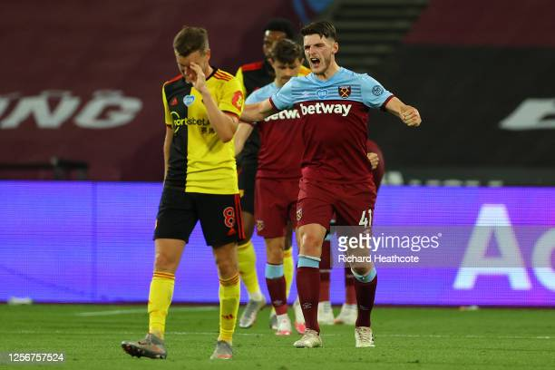 Declan Rice of West Ham United celebrates following his sides victory in the Premier League match between West Ham United and Watford FC at London...