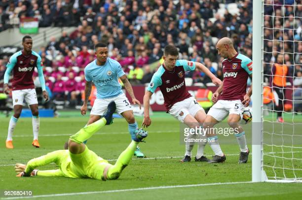 Declan Rice of West Ham United deflects Kevin De Bruyne of Manchester City cross into the net for a own goal and Manchester City's second goal of the...