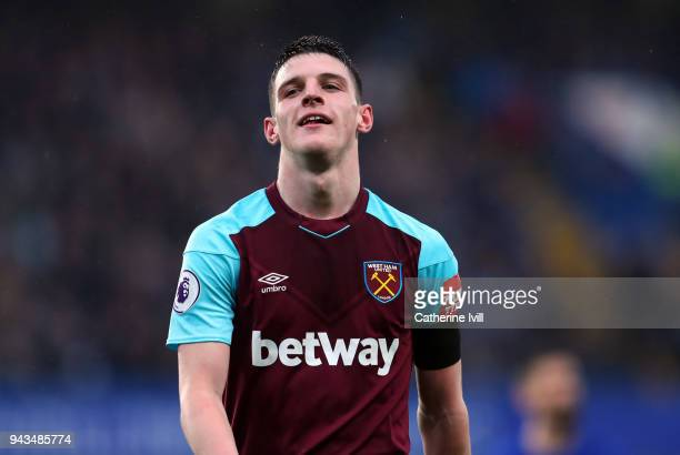 Declan Rice of West Ham United during the Premier League match between Chelsea and West Ham United at Stamford Bridge on April 8 2018 in London...
