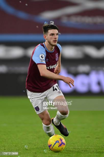 Declan Rice of West Ham United in action during the Premier League match between West Ham United and West Bromwich Albion at London Stadium on...