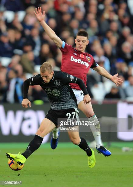 Declan Rice of West Ham United in action with Matej Vydra of Burnley during the Premier League match between West Ham United and Burnley FC at London...