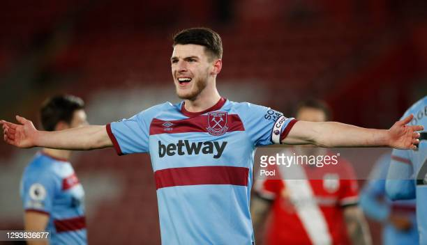 Declan Rice of West Ham United reacts during the Premier League match between Southampton and West Ham United at St Mary's Stadium on December 29,...