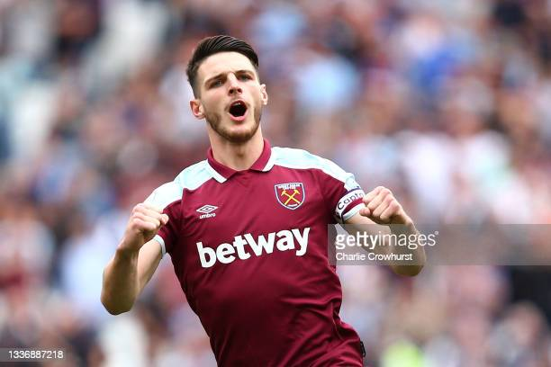 Declan Rice of West Ham United reacts during the Premier League match between West Ham United and Crystal Palace at London Stadium on August 28, 2021...