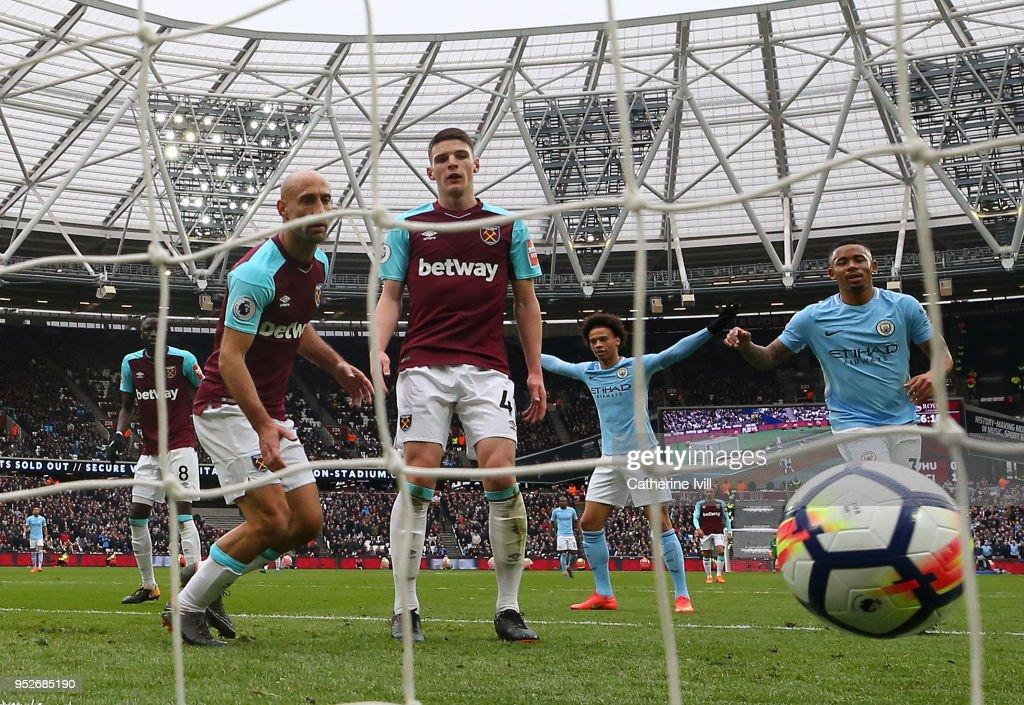 Declan Rice of West Ham United reacts to scoring a own goal for Manchester City's second goal of the game during the Premier League match between West Ham United and Manchester City at London Stadium on April 29, 2018 in London, England.