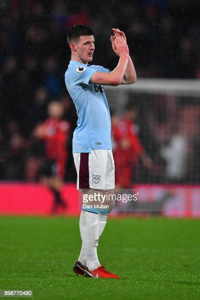 Declan Rice of West Ham United shows appreciation to the fans after the Premier League match between AFC Bournemouth and West Ham United at Vitality...