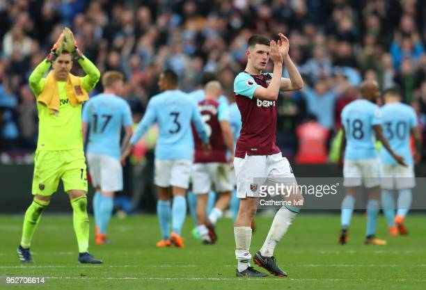 Declan Rice of West Ham United shows appreciation to the fans after the Premier League match between West Ham United and Manchester City at London...