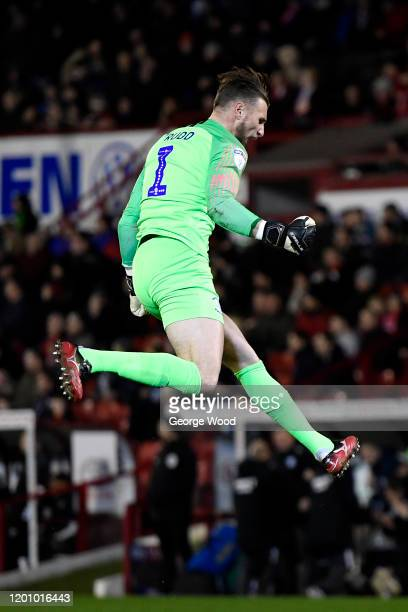 Declan Rudd of Preston North End celebrates after his sides first goal during the Sky Bet Championship match between Barnsley and Preston North End...