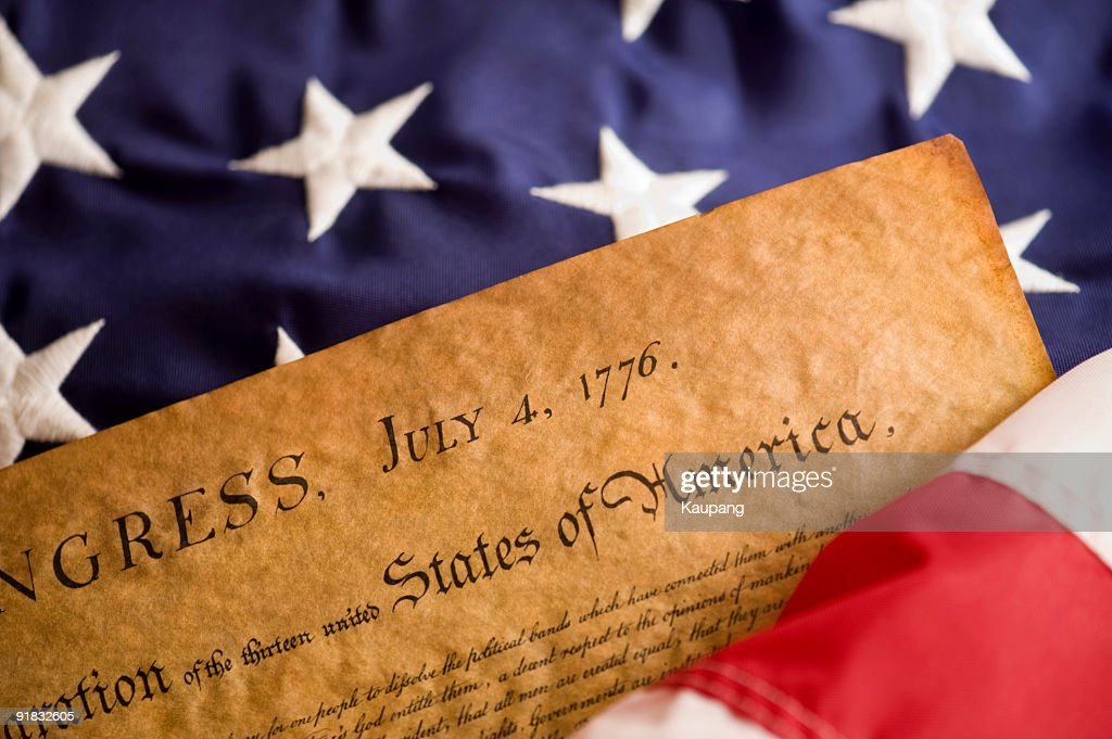 Declaration and American Flag : Stock Photo