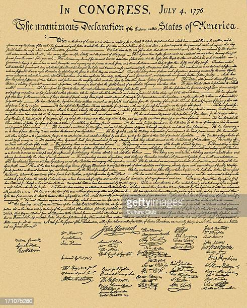 Declaration of Independence document formally entitled 'The unanimous Declaration of the thirteen united States of America' dated 4 July 1776 Signed...