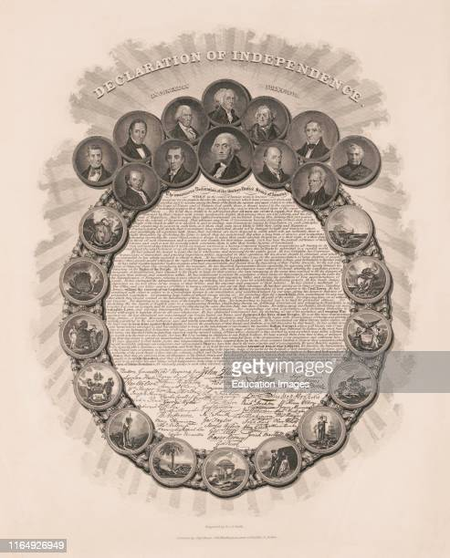 Declaration of Independence, in Congress July 4th 1776, Text and Signatures within Wreath of Portraits of First Twelve US Presidents and Scenes...