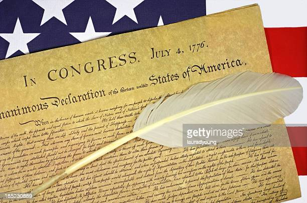 Declaration of Independence with US Flag and Quill Pen
