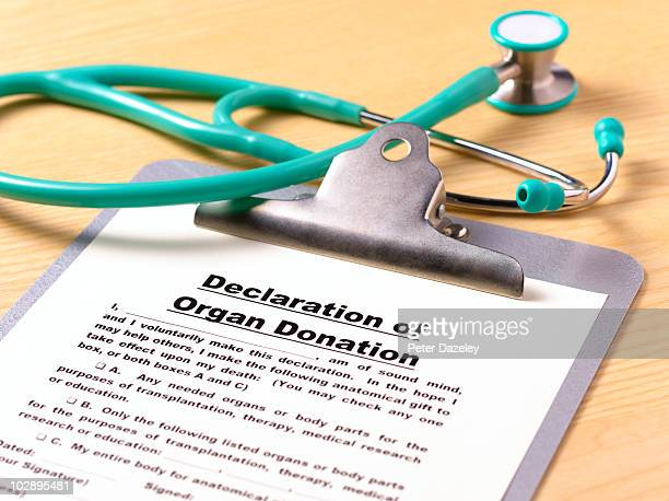 declaration of organ donation on clipboard - organ donation stock photos and pictures