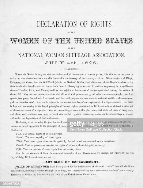 Declaration of Rights of the Women of the United States created by the National Woman Suffrage Association for the American market on July 4 1876