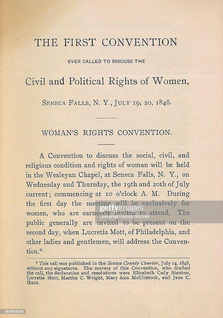 Declaration of Sentiments, 1848. : News Photo