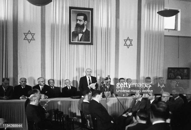 Declaration of the Establishment of the State of Israel by David Ben-Gurion. The Executive Head of the World Zionist Organization. Chairman of the...