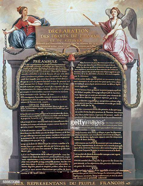 Declaration of the Rights of Man and of the Citizen Act passed in France by the Constituent Assembly on August 26 1789 with seventeen articles that...