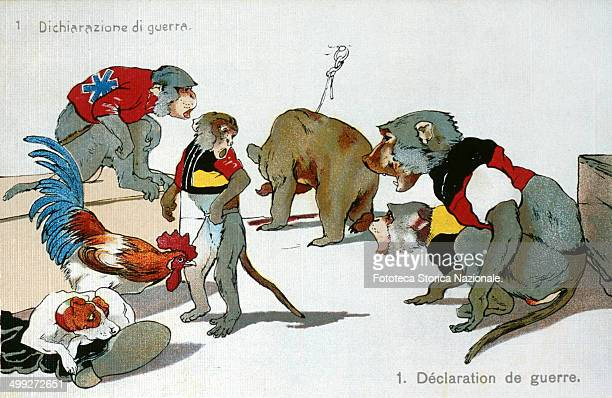 '1 Declaration of war' Satirical Allegory of alliances between nations during the First World War represented by animals in question The series is...