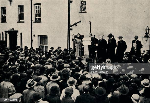Declaring the Poll at Epping' . British politician and statesman Sir Winston Churchill and his wife Clementine listen to the official declaration...