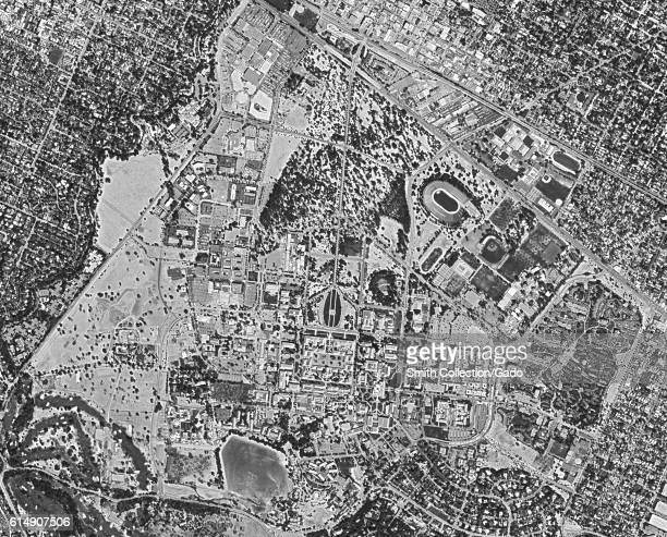 Declassified reconnaissance satellite view, taken by the Central Intelligence Agency's Keyhole spy satellite of Stanford University and a portion of...