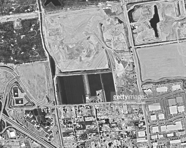 Declassified reconnaissance satellite view taken by the Central Intelligence Agency's Keyhole spy satellite of the site on which the Googleplex and...