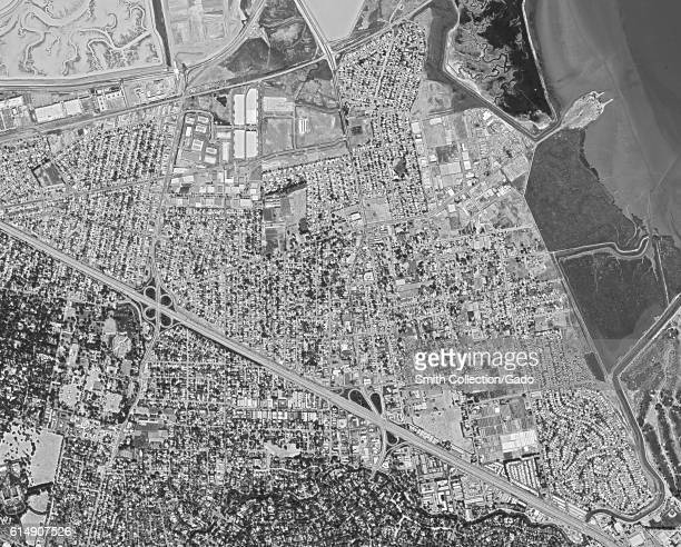 Declassified reconnaissance satellite view, taken by the Central Intelligence Agency's Keyhole spy satellite of East Palo Alto in the Silicon Valley...