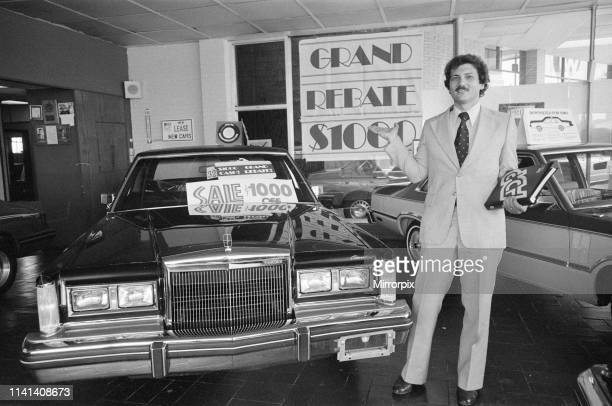 Decline of Motor Industry in New York USA 18th July 1980 pictured Dominic J Sorresso Salesman at Lincoln Continental showroom