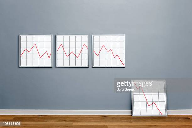 declining line graph in picture frames - deterioration stock pictures, royalty-free photos & images