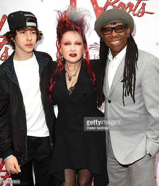 Declyn Wallace Thornton Cyndi Lauper Nile Rodgers attending the Broadway Opening Night Performance for 'Kinky Boots' at the Al Hirschfeld Theatre in...