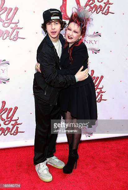 Declyn Wallace Thornton Lauper and Cyndi Lauper attend the Kinky Boots Broadway Opening Night at the Al Hirschfeld Theatre on April 4 2013 in New...