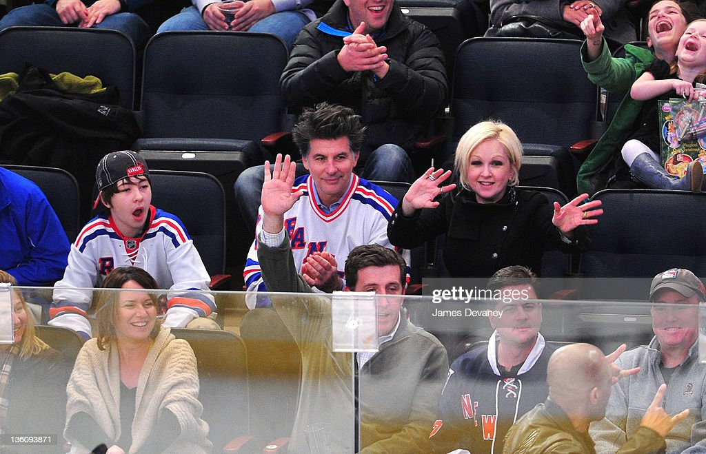 Declyn Wallace Thornton Lauper, David Thornton and Cyndi Lauper attend the Philadelphia Flyers vs the New York Rangers game at Madison Square Garde on December 23, 2011 in New York City.