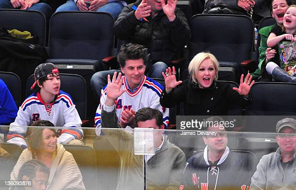 Declyn Wallace Thornton Lauper David Thornton and Cyndi Lauper attend the Philadelphia Flyers vs the New York Rangers game at Madison Square Garde on...