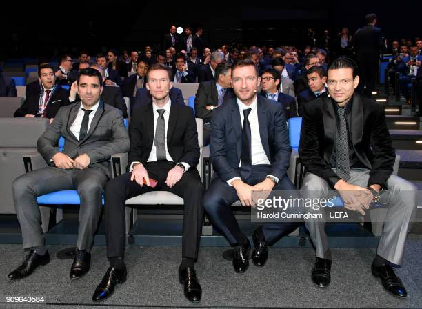 Deco Alexander Hleb Vladimir Smicer and Jari Litmanen during the UEFA Nations League Draw on January 24 2018 in Lausanne Switzerland