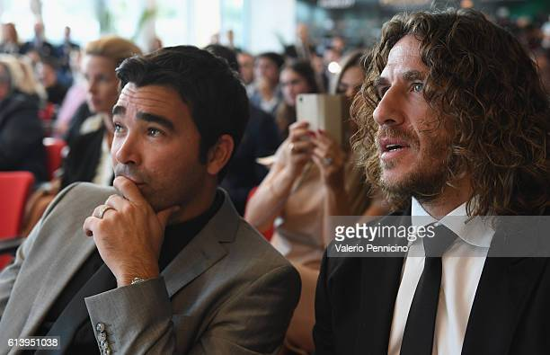 Deco and Carles Puyol attend the Golden Foot Ceremony Award on October 11 2016 in Monaco Monaco