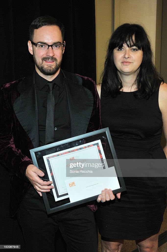 Deco Dawson (L), winner of the Award for Best Canadian Short Film for 'Keep a Modest Head', and producer Catherine Chagnon	attend the 37th Toronto International Film Festival Award Winner Ceremony held at the InterContinental Toronto Center Hotel on September 16, 2012 in Toronto, Canada.