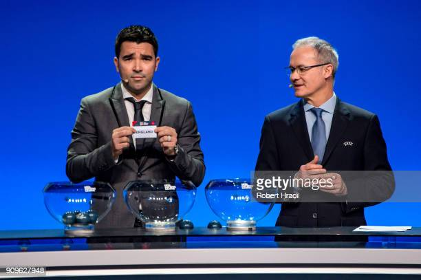 Deco former Brazilain football player shows the slip of England during the UEFA Nations League Draw 2018 at Swiss Tech Convention Center on January...