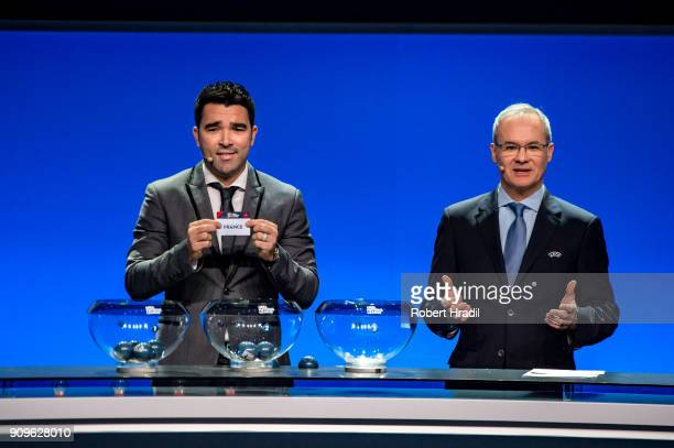 Deco former Brazilain football player shows the slip of France during the UEFA Nations League Draw 2018 at Swiss Tech Convention Center on January 24...
