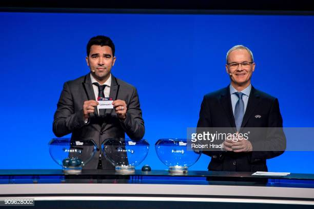 Deco former Brazilain football player shows the slip of Germany during the UEFA Nations League Draw 2018 at Swiss Tech Convention Center on January...
