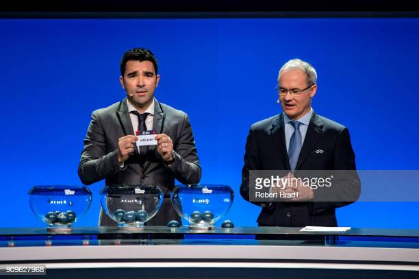 Deco former Brazilain football player shows the slip of Iceland during the UEFA Nations League Draw 2018 at Swiss Tech Convention Center on January...