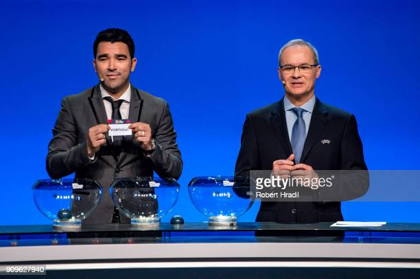 Deco former Brazilain football player shows the slip of Portugal during the UEFA Nations League Draw 2018 at Swiss Tech Convention Center on January...